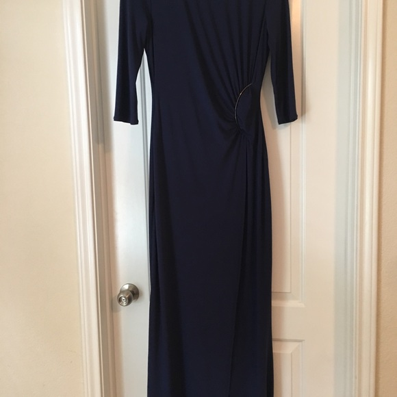 Laundry By Shelli Segal Dresses & Skirts - Laundry Navy Blue dress with side slit and ruche